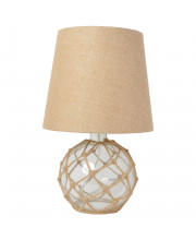 Elegant Designs Buoy Rope Nautical Netted Coastal Ocean Sea Glass Table Lamp With Burlap Fabric Shade, Clear