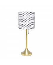 Simple Designs Gold Tapered Table Lamp With Polka Dot Fabric Drum Shade