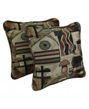 18-inch Double-corded Patterned Tapestry Square Throw Pillows with Inserts (Set of 2) - Picasso