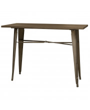 AmeriHome BTABLE40 Loft Rustic Gunmetal Metal Counter Height Dining Table with Wood Top