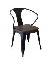 AmeriHome DCHAIRBWT Loft Black Metal Dining Chair with Wood Seat- 4 Piece