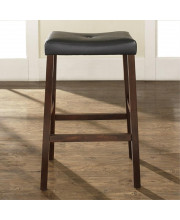 Upholstered Saddle Seat Bar Stool In Vintage Mahogany Finish With 29 Inch Seat Height. (Set Of Two)
