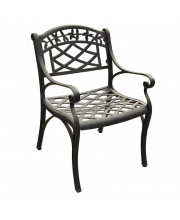 Sedona Cast Aluminum Arm Chair In Charcoal Black Finish (Set Of 2)