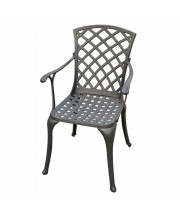 Sedona Cast Aluminum High Back Arm Chair In Charcoal Black Finish (Set Of 2)