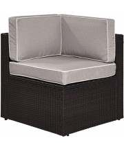 Palm Harbor Outdoor Wicker Corner Chair In Brown With Grey Cushions