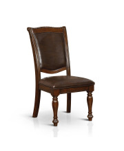 Shilo Leatherette Dining Chair Traditional Style - Brown Cherry