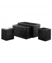 Syka Nesting Bench & Ottoman Set Contemporary Style - Dark Brown