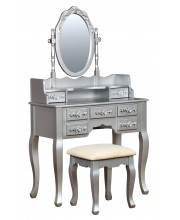Alisster Floral Carved Vanity Set Transitional Style - Silver