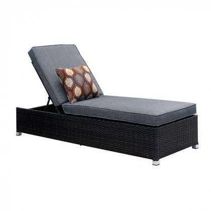 Sollari Adjustable Back Outdoor Chaise Contemporary Style - Grey