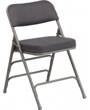 HERCULES Series Premium Curved Triple Braced & Quad Hinged Gray Fabric Metal Folding Chair - AW-MC320AF-GRY-GG