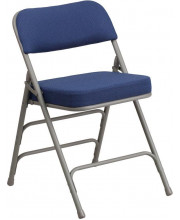 HERCULES Series Premium Curved Triple Braced & Double Hinged Navy Fabric Metal Folding Chair - AW-MC320AF-NVY-GG