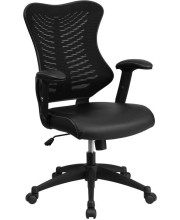 High Back Designer Black Mesh Executive Swivel Chair with Adjustable Arms with Leather Seat - BL-ZP-806-BK-LEA-GG