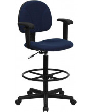 Navy Blue Patterned Fabric Drafting Chair with Adjustable Arms (Cylinders: 22.5''-27''H or 26''-30.5''H) - BT-659-NVY-ARMS-GG