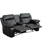 Reel Comfort Series 2-Seat Reclining Black Leather Theater Seating Unit with Curved Cup Holders - BT-70530-2-BK-CV-GG