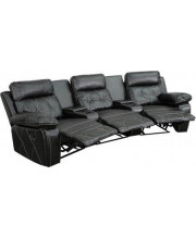 Reel Comfort Series 3-Seat Reclining Black Leather Theater Seating Unit with Curved Cup Holders - BT-70530-3-BK-CV-GG