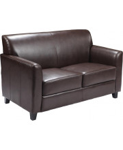 Harmony Series Black Leather Loveseat with Two Built-In Recliners - BT-70597-LS-GG