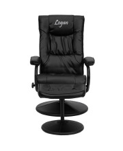 Personalized Contemporary Black Leather Recliner and Ottoman with Leather Wrapped Base - BT-7862-BK-TXTEMB-GG