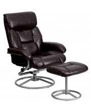 Contemporary Brown Leather Recliner and Ottoman with Leather Wrapped Base - BT-7862-BN-GG