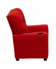 Contemporary Red Microfiber Kids Recliner with Cup Holder - BT-7950-KID-MIC-RED-GG
