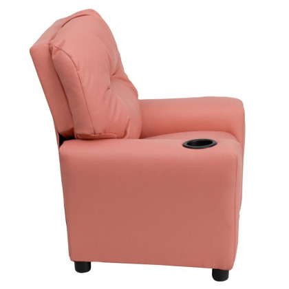 Contemporary Pink Vinyl Kids Recliner with Cup Holder - BT-7950-KID-PINK-GG