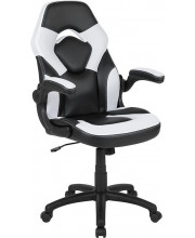 X10 Gaming Chair Racing Office Ergonomic Computer Pc Adjustable Swivel Chair With Flip-Up Arms, White/Black Leathersoft