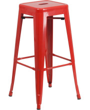 30'' High Backless Red Metal Indoor-Outdoor Barstool with Square Seat - CH-31320-30-RED-GG