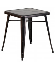 23.75'' Square Black-Antique Gold Metal Indoor-Outdoor Table - CH-31330-29-BQ-GG