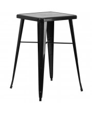 23.75'' Square Black Metal Indoor-Outdoor Bar Height Table - CH-31330-BK-GG