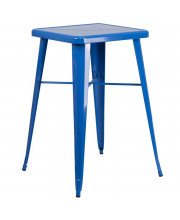 23.75'' Square Blue Metal Indoor-Outdoor Bar Height Table - CH-31330-BL-GG