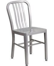 Silver Metal Indoor-Outdoor Chair - CH-61200-18-SIL-GG