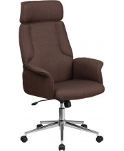 High Back Brown Fabric Executive Swivel Chair with Chrome Base and Fully Upholstered Arms - CH-CX0944H-BN-GG
