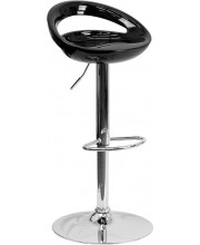 Contemporary Black Plastic Adjustable Height Barstool with Chrome Base - CH-TC3-1062-BK-GG