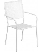 White Indoor-Outdoor Steel Patio Arm Chair with Square Back - CO-2-WH-GG
