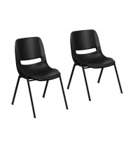 """Flash Furniture Hercules Series 661 lb. and 440 lb. Capacity Black Ergonomic Shell Stack Chair 14'' and 16"""" Seat Height with Black Frame"""