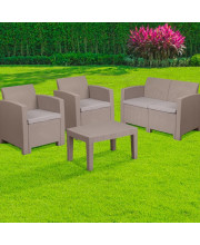 4 Piece Outdoor Faux Rattan Chair, Loveseat, Sofa and Table Set in Charcoal