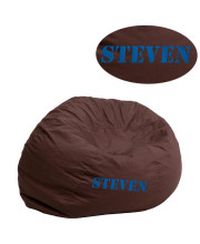 Personalized Small Solid Brown Kids Bean Bag Chair - DG-BEAN-SMALL-SOLID-BRN-TXTEMB-GG