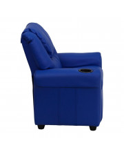 Contemporary Blue Vinyl Kids Recliner with Cup Holder and Headrest - DG-ULT-KID-BLUE-GG