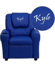 Personalized Blue Vinyl Kids Recliner with Cup Holder and Headrest - DG-ULT-KID-BLUE-TXTEMB-GG