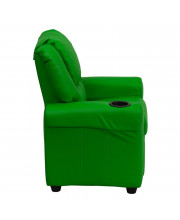 Contemporary Green Vinyl Kids Recliner with Cup Holder and Headrest - DG-ULT-KID-GRN-GG