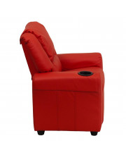 Contemporary Red Vinyl Kids Recliner with Cup Holder and Headrest - DG-ULT-KID-RED-GG