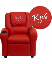 Personalized Red Vinyl Kids Recliner with Cup Holder and Headrest - DG-ULT-KID-RED-TXTEMB-GG