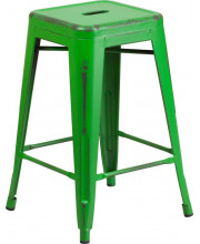 24'' High Backless Distressed Green Metal Indoor-Outdoor Counter Height Stool - ET-BT3503-24-GN-GG
