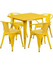 31.5'' Square Yellow Metal Indoor-Outdoor Table Set with 4 Arm Chairs - ET-CT002-4-70-YL-GG