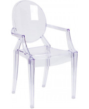 Ghost Chair with Arms in Transparent Crystal - FH-124-APC-CLR-GG