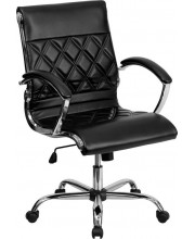 Mid-Back Designer Black Leather Executive Swivel Chair with Chrome Base and Arms - GO-1297M-MID-BK-GG