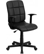 Mid-Back Black Quilted Vinyl Swivel Task Chair with Arms - GO-1691-1-BK-A-GG