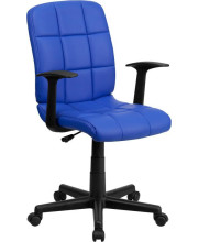 Mid-Back Blue Quilted Vinyl Swivel Task Chair with Arms - GO-1691-1-BLUE-A-GG