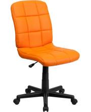 Mid-Back Orange Quilted Vinyl Swivel Task Chair - GO-1691-1-ORG-GG