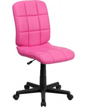 Mid-Back Pink Quilted Vinyl Swivel Task Chair - GO-1691-1-PINK-GG
