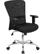 Mid-Back Black Mesh Contemporary Swivel Task Chair with Chrome Base and Adjustable Arms - GO-5307B-GG